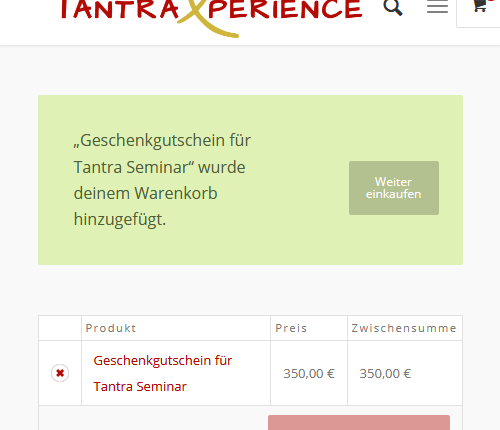 Onlineshop der TantraXperience Website